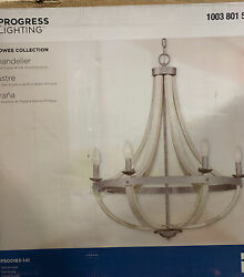 Progress Keowee 6 Light Galvanized Chandelier with Antique White Wood Accents $143.99
