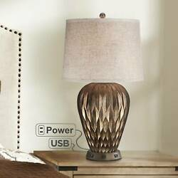 Modern Table Lamp with USB Outlet Workstation Base Geometric Bronze Living Room $159.98