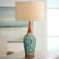 Mid Century Modern Table Lamp Ceramic Blue Wood for Living Room Bedroom $129.99