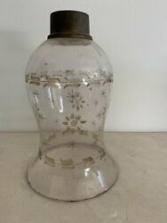 Gorgeous Etched Blown Glass Antique Hurricane Lamp Shade $68.00