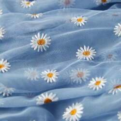 Daisy Lace Mesh Fabric Embroidery Tulle Dress DIY Skirt Sewing Material By Yard $10.99