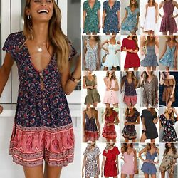 Women Ladies Boho Floral Short Mini Dress Summer Beach Party Beach Sun Dresses $17.76