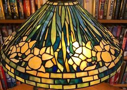 Antique Tiffany Reproduction Long Stemed Blue Daffodil Leaded Glass Lamp Shade $2950.00