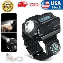 Tactical LED Rechargeable Wrist Watch Flashlight Compass Outdoor Hiking Torch US $15.98