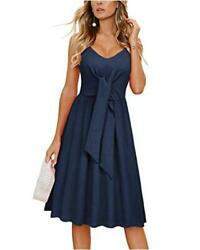 OUGES Women#x27;s Summer Dresses Tie Front Casual V Neck Navy Size Medium fxlE $11.65