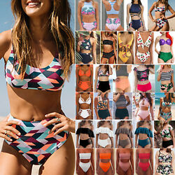 Ladies Bikini Set Swimsuit High Waist Holiday Bathing Dress Swimwear Beachwear $14.53