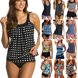 Two Piece Push Up Padded Tankini Women#x27;s Bikini Swimsuit Bathing Dress Swimwear $17.57