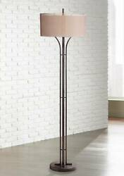 Modern Floor Lamp Bronze Double Drum Shades for Living Room Reading Office $299.99
