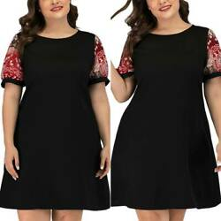 Ladies Casual Short Sleeve Short Dress Holiday Summer Plus Size Party Sundress $17.47