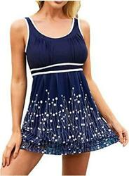 ReachMe Womens 2 Piece Swimsuits Tankini Top Set with 2 Navy dots Size X Large $9.99