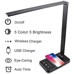 LED Desk Lamps for Home Touch Control Desktop Lamp with Wireless Charger USB 5 $35.60