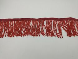3quot; Red Glass Seed Bead Beaded Fringe Lamp Lampshade Costume Trim By the Yard X2 $12.99