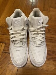 NIKE Court Borough Mid White Leather Basketball Shoes Size 12 Men#x27;s 838938 111 $40.00