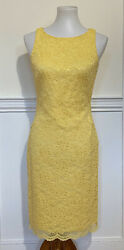 Ralph Lauren Dress Sleeveless Yellow Floral Cocktail Lace Lined Size 2 Gorgeous $19.95