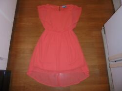 Buttons stylish pinkish orange dress with hi low hem size M