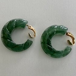 VTG Avon Earrings Lucite Plastic Molded Carved FLORAL HOOP 1982 Green Clip $13.00