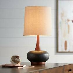 Mid Century Modern Table Lamp Hammered Bronze Wood for Living Room Bedroom $89.99