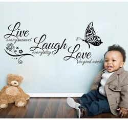 Love Laugh Butterfly Art Wall Quotes Stickers Bedroom Words Phrases Decals $9.99