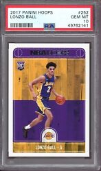 LONZO BALL 2017 Panini Hoops Basketball #252 Rookie Card Graded PSA 10 GEM 141