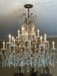 Vintage French Italian Crystal Macaroni Beaded Chandelier 18 Light $9000.00