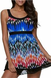 ReachMe Womens 2 Piece Swimsuits Tankini Top Set with Boy 6 Blue Size X Large $9.99