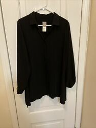 chicos 2 Black Long Blouse Long Sleeve