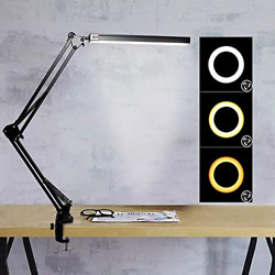 LED Desk Lamp Swing Arm Lamp with Clamp 3 Color Modes Eye Caring Dimmable and $31.22