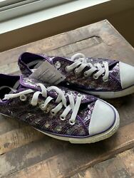NWT CONVERSE ALL STAR Womens US 7.5 Purple Silver Sparkle Sequin Lo Sneaker $44.99