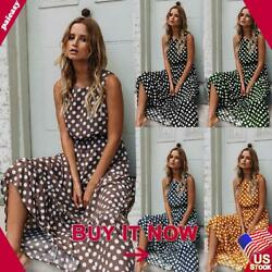 Womens Ladies Polka Dot Summer Holiday Midi Long Dress Casual Swing Sun Dresses $9.59