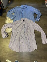 Scott Barber Mens Dress Shirt Lot 2x Large Blue Pruple Stripes $19.99