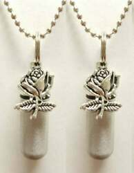 Set of TWO Brushed Silver Anointing Oil Holders Vials w Silver Roses Chains $11.95