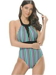 Swimsuits for Women One Piece Sexy Deep V Halter Bathing 2 Black Size X Small $13.99