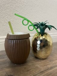 Pool party beach cups. Coconut Cup pineapple Cup. Used Once $18.00