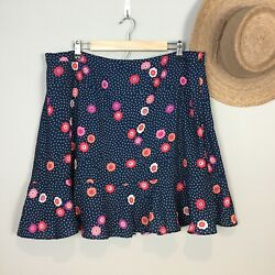 Modcloth Skirt Plus Sz 1X Navy Red Polka Dot Floral Flounce Ruffle Lined $29.95