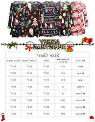 Christmas Dress Women Santa Claus Print Long Sleeve A Line Red 01 Size Small $13.99