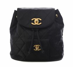 CHANEL Black Leather Gold CC Flap Chain Duma Backpack Tote Bag Purse $2850.00