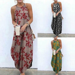 Halter Printed Maxi Dress Bohemian Women Causal Summer Beach Dress Long Dresses $11.00
