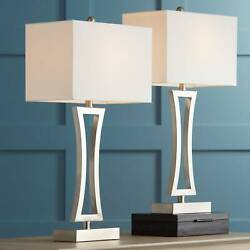 Modern Table Lamps Set of 2 with WiFi Smart Sockets Brushed Nickel Living Room $149.98
