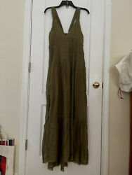 NWT Free People Frankie Pintuck Maxi Dress In Olive Boho Size S Msrp $148 $58.99