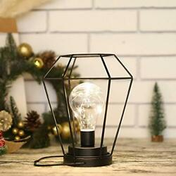 Diamond Metal Cage Table Lamp Battery PoweredCordless Lamp with LED Black $26.17