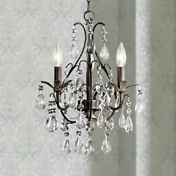 Castlewood Walnut and Crystal 3 Light Small Mini Chandelier $184.95