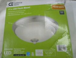 Commercial Electric 11 in. 60 Watt Equivalent Brushed Nickel Integrated LED Flu