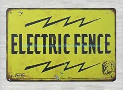 donor pub cafe home plaques ELECTRIC FENCE metal tin sign $15.95
