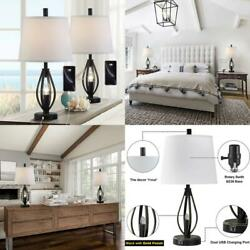 Modern Farmhouse Table Lamp Sets of 2 with 2 USB Ports Pulg in Industrial Nightl $144.99