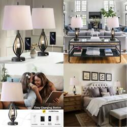 Modern Farmhouse Table Lamp Sets of 2 with 2 USB Ports Pulg in Industrial Nightl $187.99