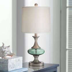 Modern Table Lamp Brushed Steel Blue Green Glass for Living Room Bedroom $69.99