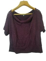 NY Collection womens shirt 1X sparkly purple Party Sleeve Detail Sweater Shirt $10.00