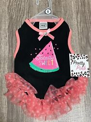 """Simply Wag Dog Black Dress Watermelon """" TOTALLY SWEET """" SMALL $13.00"""