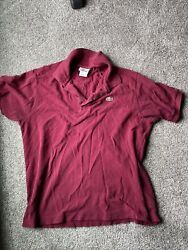 Lacoste Mens Red Live Logo Short Sleeve Button Down Polo Shirt Size Medium $15.99