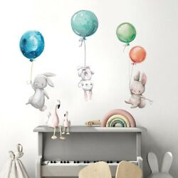 Wall Stickers Colorful Balloon Rabbits Bedroom For Kids Room Decoration Decals $9.71